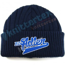 Embroidered Chunky Ribbed Navy Cuff Hat