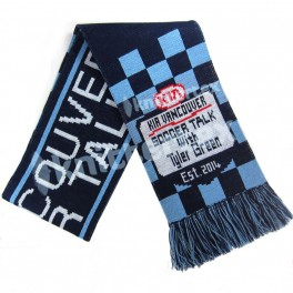Three Colored Checked Knit Football Scarf