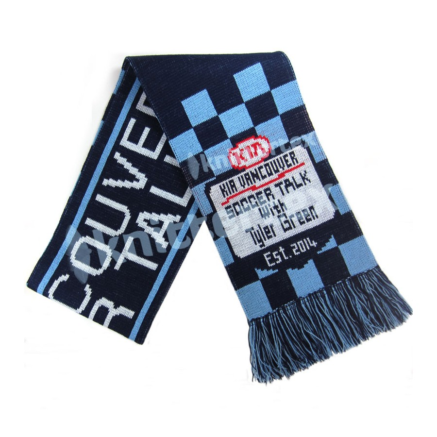 Knitting Pattern For Football Scarf : Three Colored Checked Knit Football Scarf - knittertex