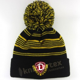 Embroidered Pinstriped Premium Knit Kids Bobble Hat