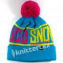 Vivid Multi Colored Text Patterned Bobble Hat