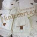 Leather Badged Cable Knit White Sports Beanie