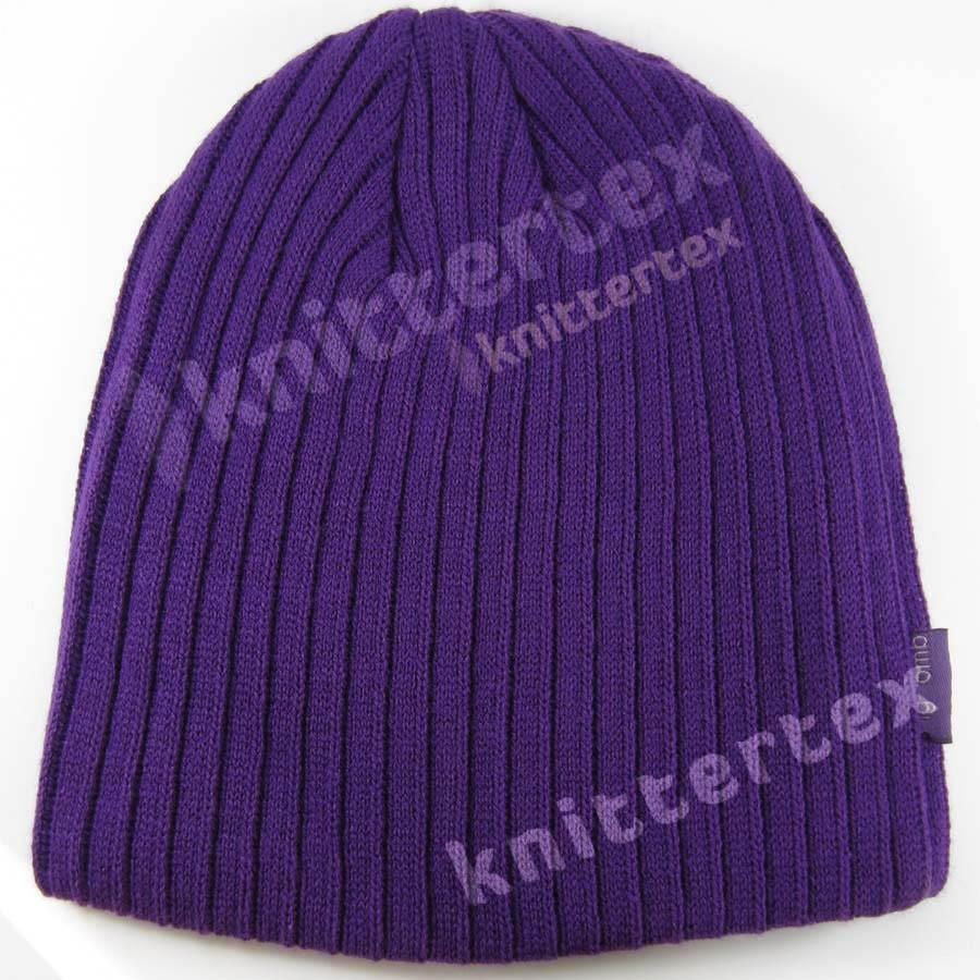Stylish Rib Knit Purple Beanie - knittertex