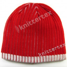 Hidden White Color Ribbed Beanie