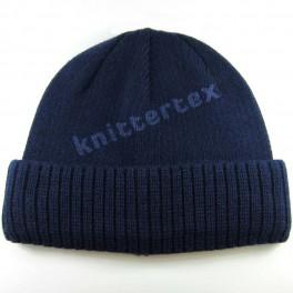 Half Ribbed Navy Cuff Hat