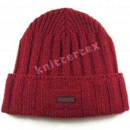 Chunky Ribbed Red Cuff Hat
