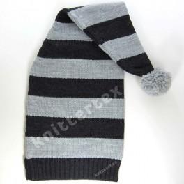 Chunky Striped Melange Gray Raglan Knit Santa Hat