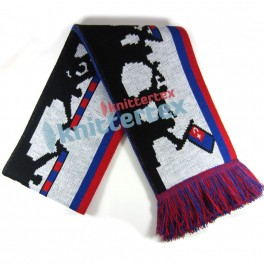 Four Colored Fans Patterned Knit Football Scarf Knittertex